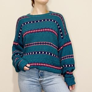 Vintage Chunky Sweater Teal Striped Triangle 90's